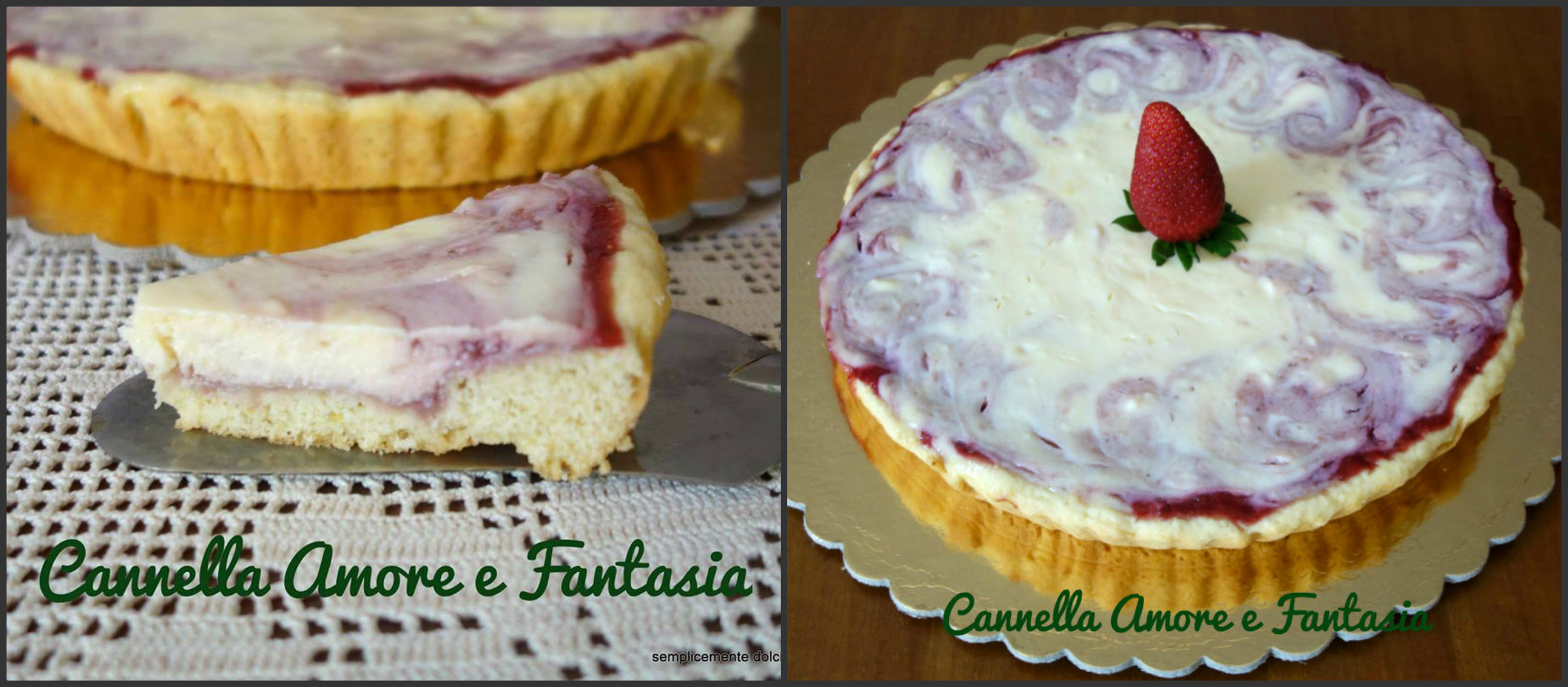 cheesecake alle fragole marmorizzato Collage 3