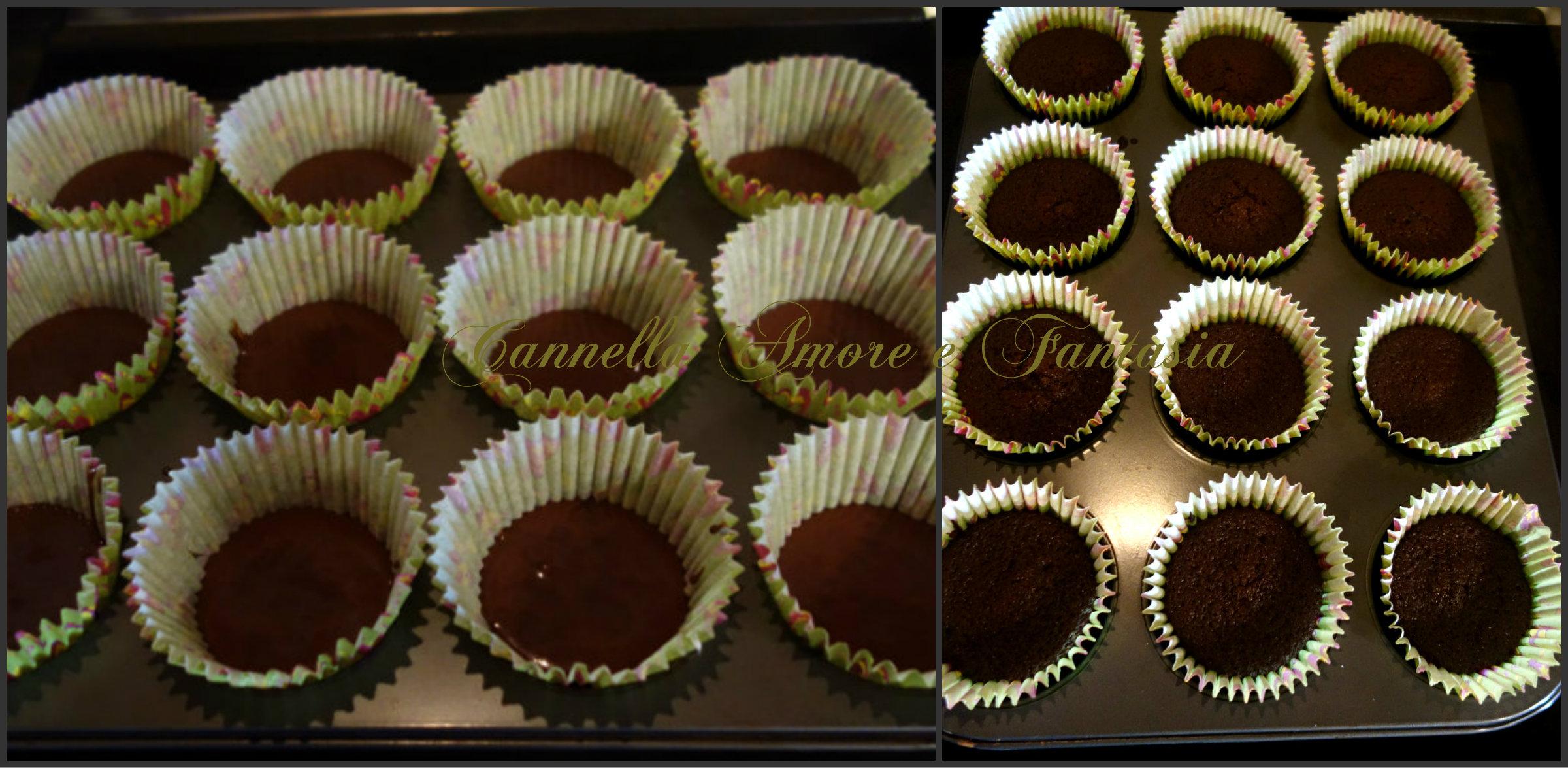 cupacakes al cioccolato e tè verde Collage