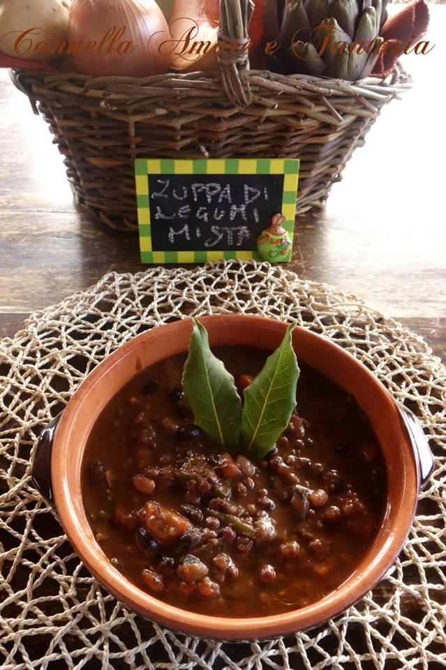zuppa di legumi mista e spinaci la gista