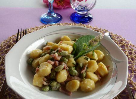 Gnocchi di patata con fave bacon e salvia