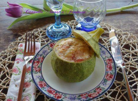 Zucchine tonde ripiene al profumo di basilico
