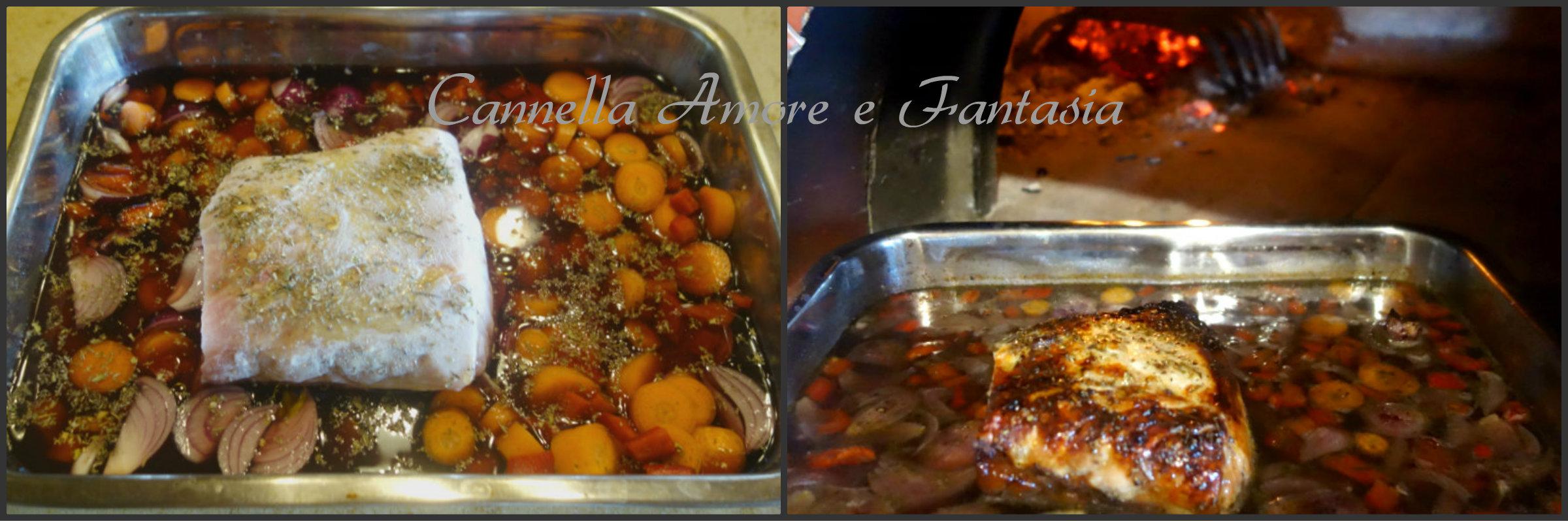 Arrosto di maiale con riduzione al vino rosso collage finito