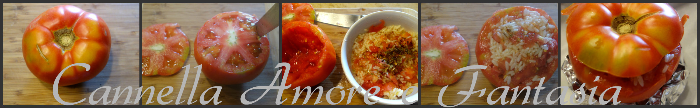 Pomodori ripieni al riso alla siciliana collage finito