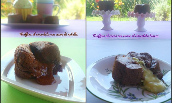 Muffins al cacao con cuore di nutella o cioccolato bianco