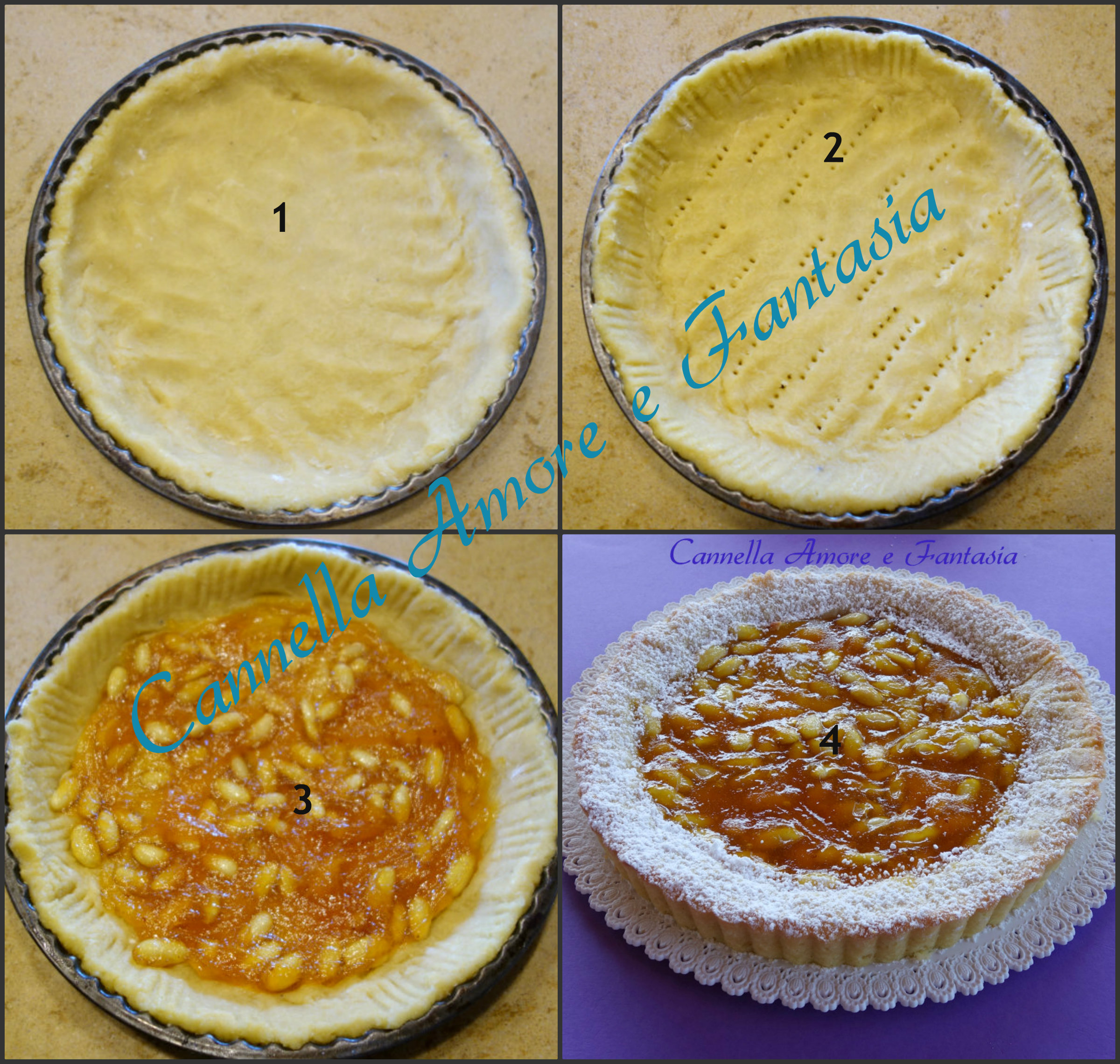 crostata di mandorle e marmellata di fichi d'india collage finito