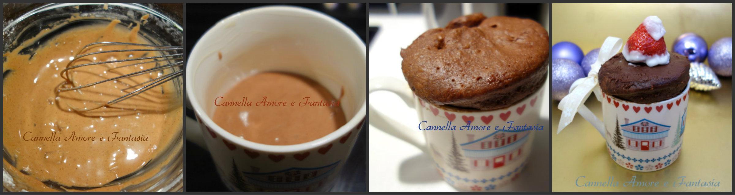 Mug kake Natalizia al doppio cioccolato collage finito