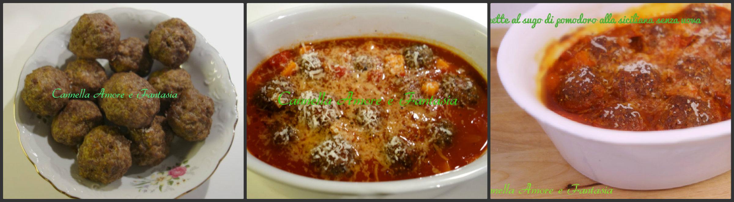 Polpette al sugo alla siciliana tradizionali e senza uovo collage finito