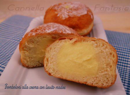 Bomboloni alla crema con lievito madre o krapfen