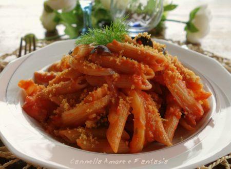 Penne integrali al finocchio olive e briciole ricetta vegan