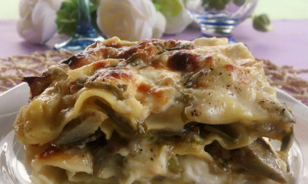 Lasagne ai carciofi e asparagi