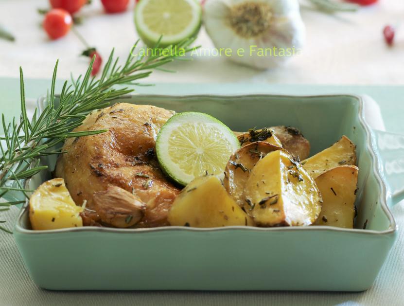 Pollo al forno al limone e erbe aromatiche con patate 1
