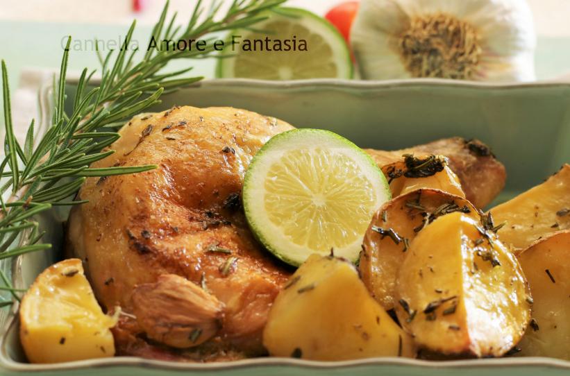 Pollo al forno al limone e erbe aromatiche con patate 2