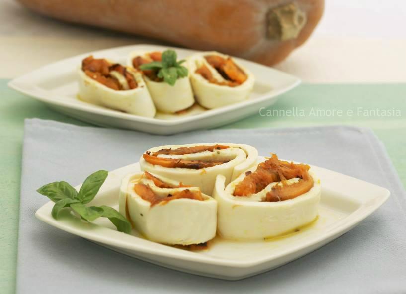 Rotolini di mozzarella con zucca grigliata – ricetta vegetariana