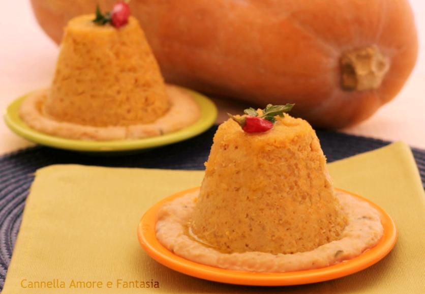 Sformatino di polenta e zucca in salsa di cannellini - ricetta vegetariana 1