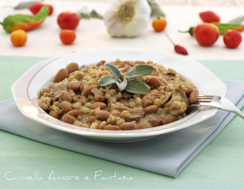 orzotto risottato con borlotti e funghi poricini secchi 1