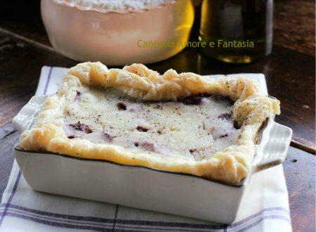 Torta salata rustica al cavolo rosso e scamorza