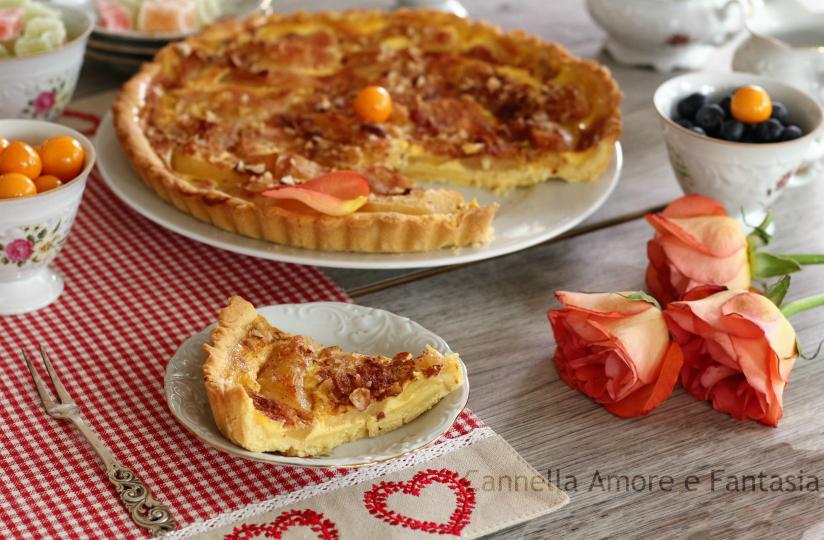 crostata con crema pasticcera pere e mandorle.