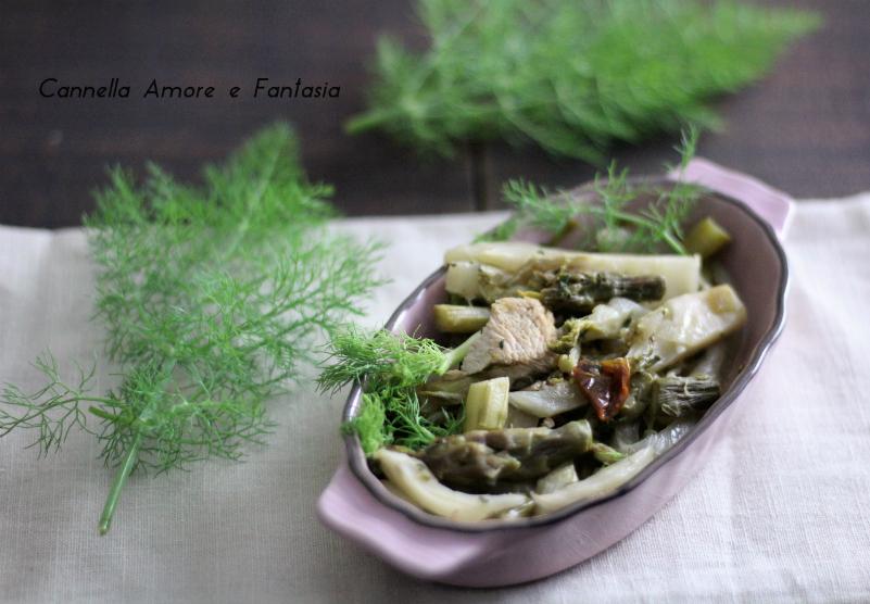 Pollo asparagi e finocchi in padella
