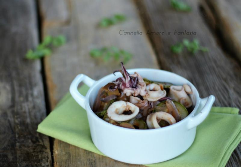 Calamari e zucchine in padella
