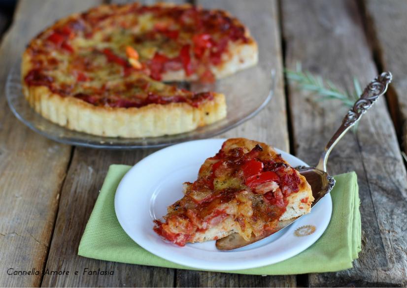Torta salata con peperoni e bacon ricetta