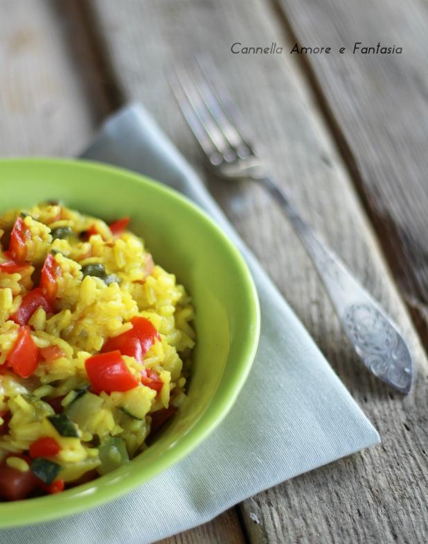 Risotto con peperoni e zucchine ricetta vegetariana