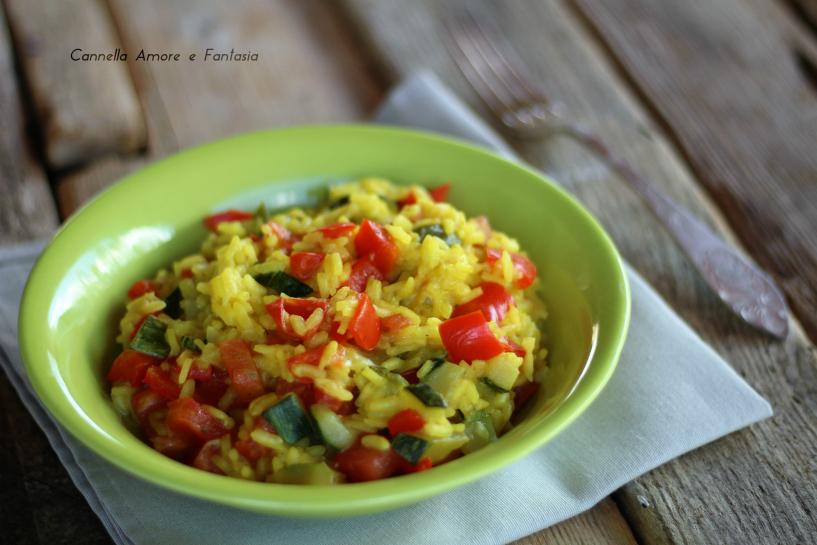 Risotto con peperoni e zucchine