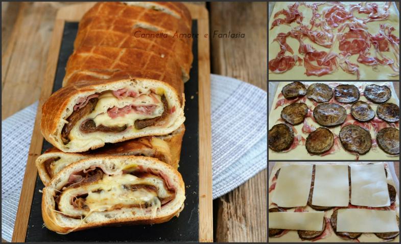 Rotolo pizza con zucchine pancetta e formaggio collage
