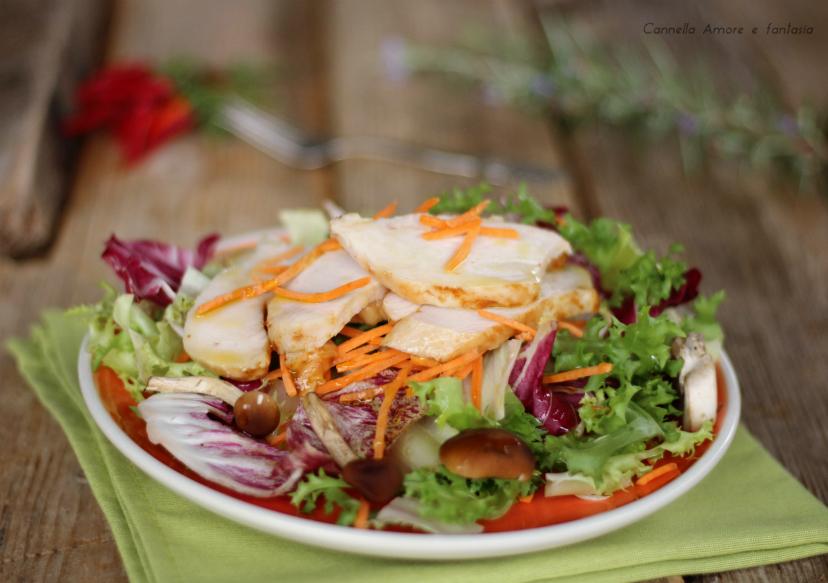 Tagliata di pollo con insalata autunnale