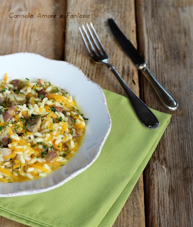 risotto con funghi zucca e speck ricetta
