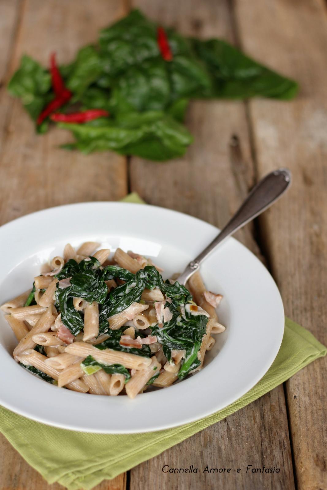 Pasta con panna prosciutto e spinaci - light