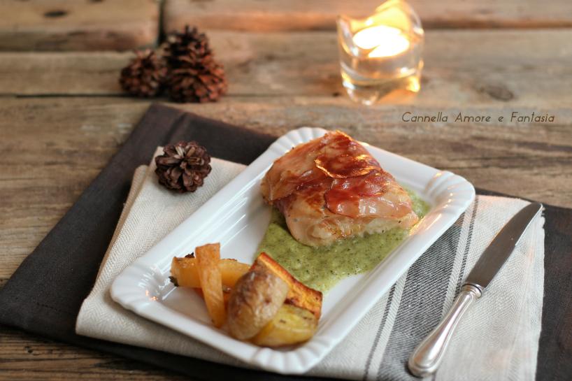 Merluzzo con speck e crema di broccoli