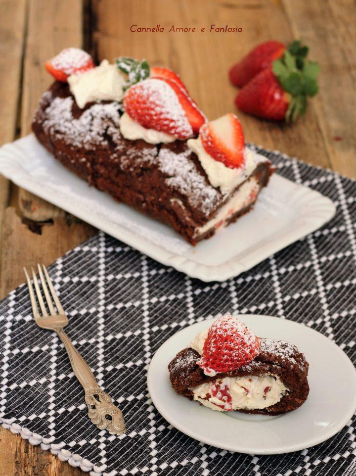 Rotolo cioccolato panna e fragole