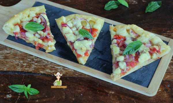 Pizza cipolla rossa pomodorini e mozzarella