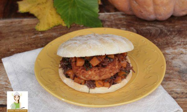 burger di salmone con zucca e radicchio