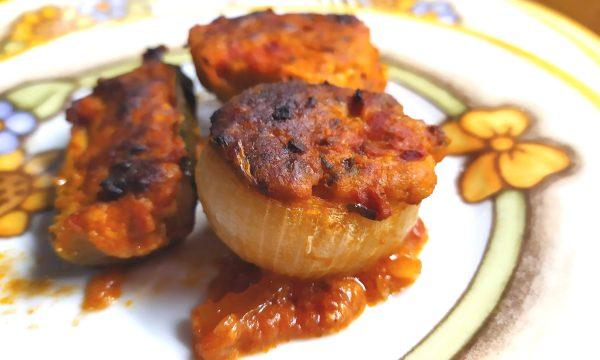 Cipolle e zucchine ripiene in forno