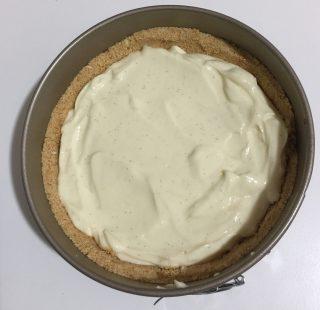 Cheese cake newyorkese, dolce americano formato da una friabile base di biscotti da una crema di formaggio e una cascata di coulisse ai frutti di bosco