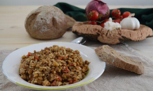Zuppa di lenticchie e riso integrale