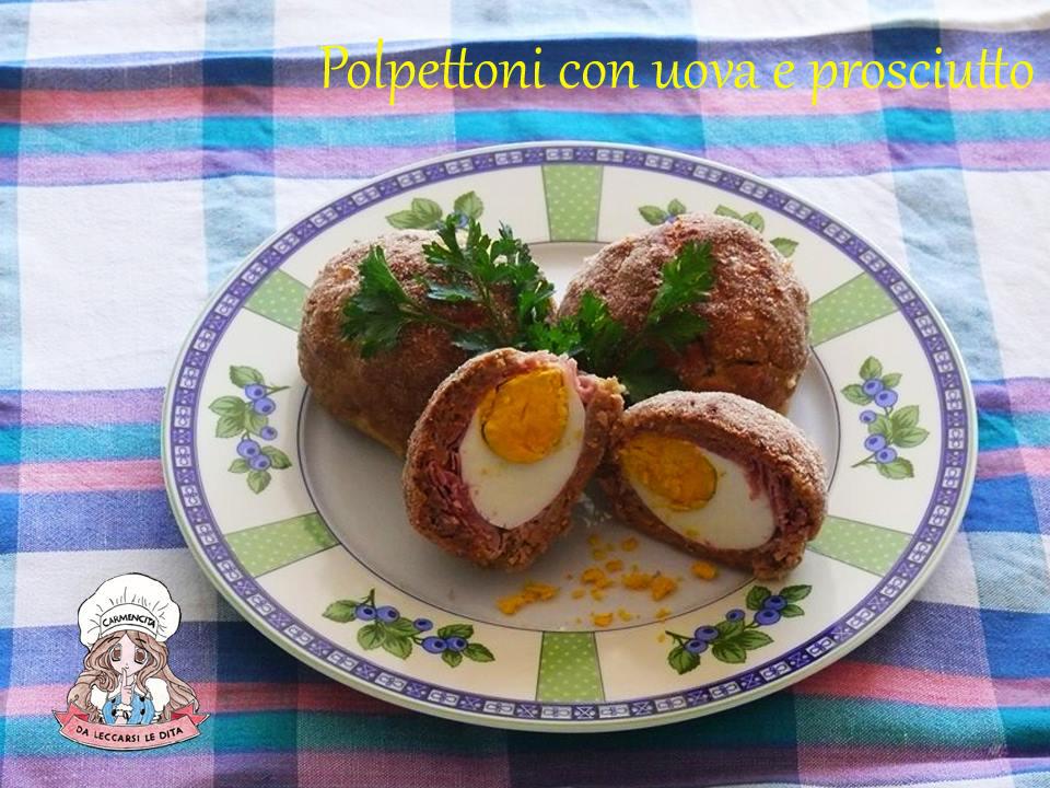 polpettoni con uova e prosciutto