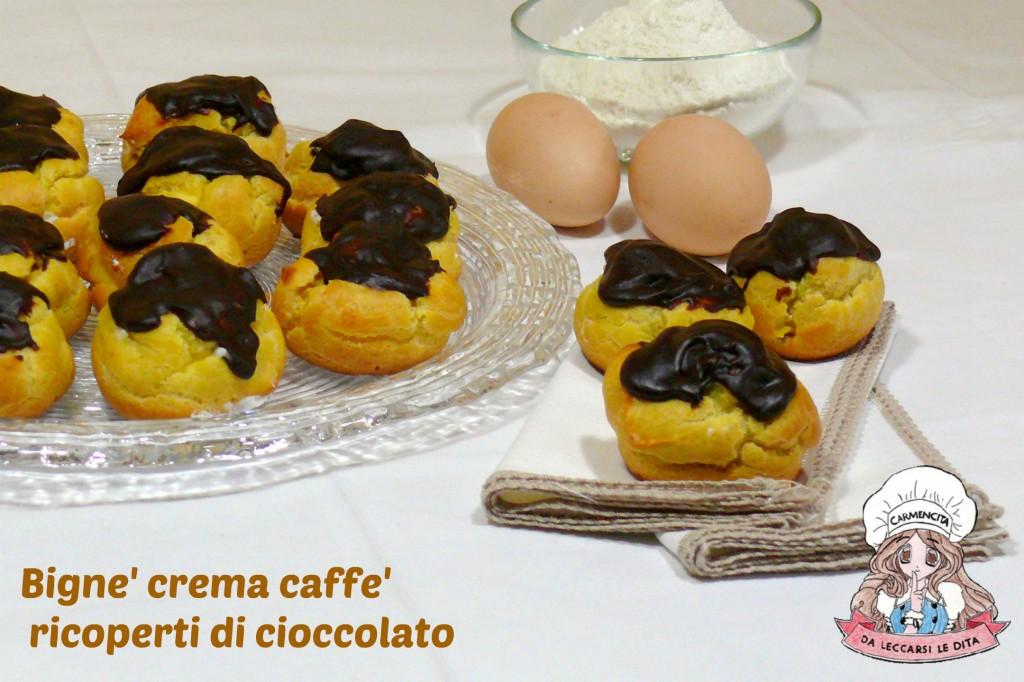 Bignè crema caffè ricoperti di cioccolato