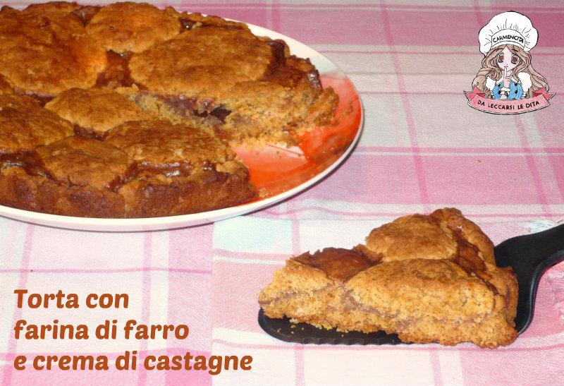 Torta con farina di farro e crema di castagne