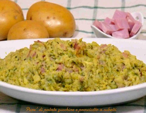 Purè di patate zucchine e prosciutto a cubetti