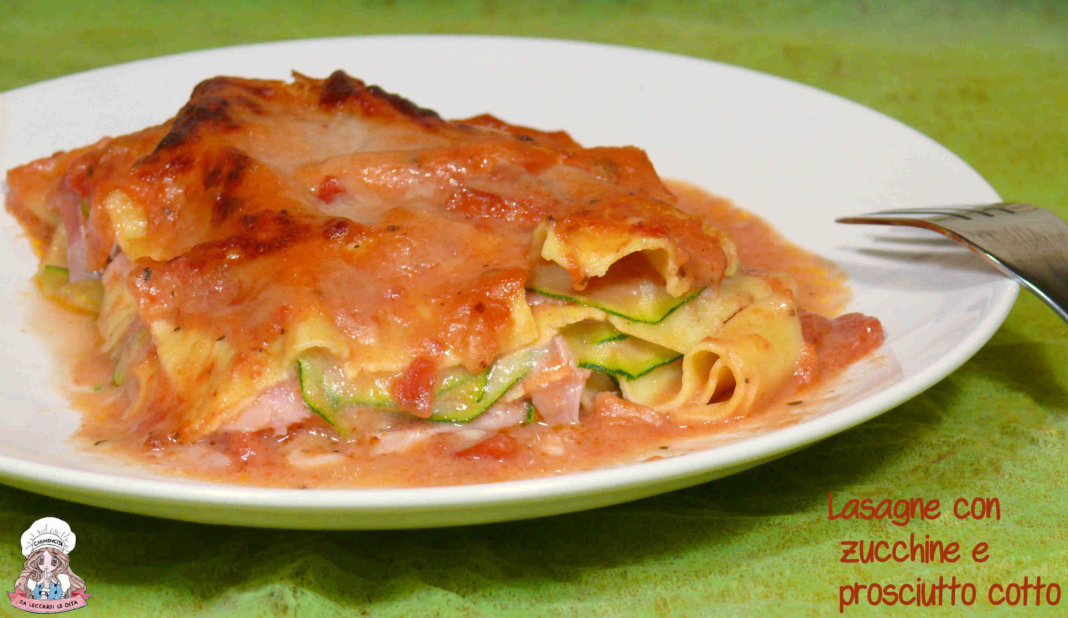 Lasagne con zucchine e prosciutto cotto