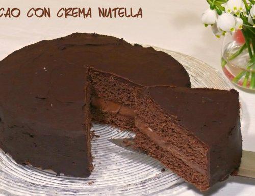 Torta cacao con crema nutella e glassa fondente