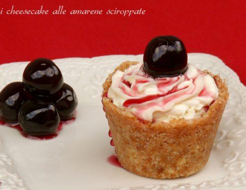 Mini cheesecake alle amarene sciroppate