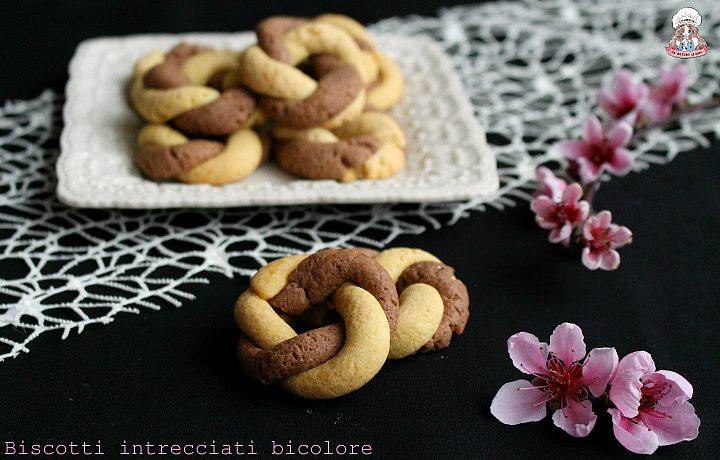 Biscotti intrecciati bicolore