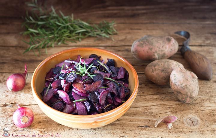 Patate e carote viola fritte al rosmarino