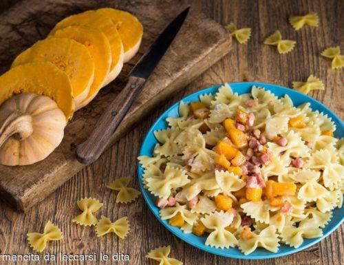 Pasta con zucca pancetta e salsa di gorgonzola