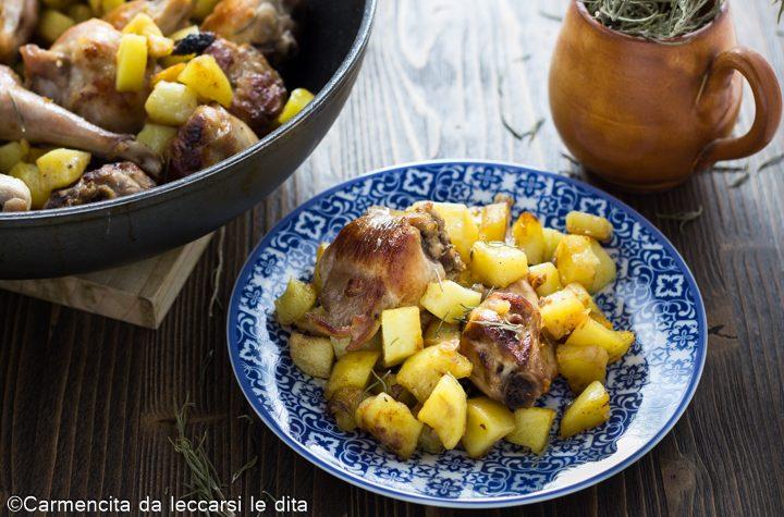 Coniglio arrosto con patate al rosmarino