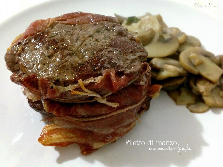 Filetto di manzo con pancetta e funghi champignon