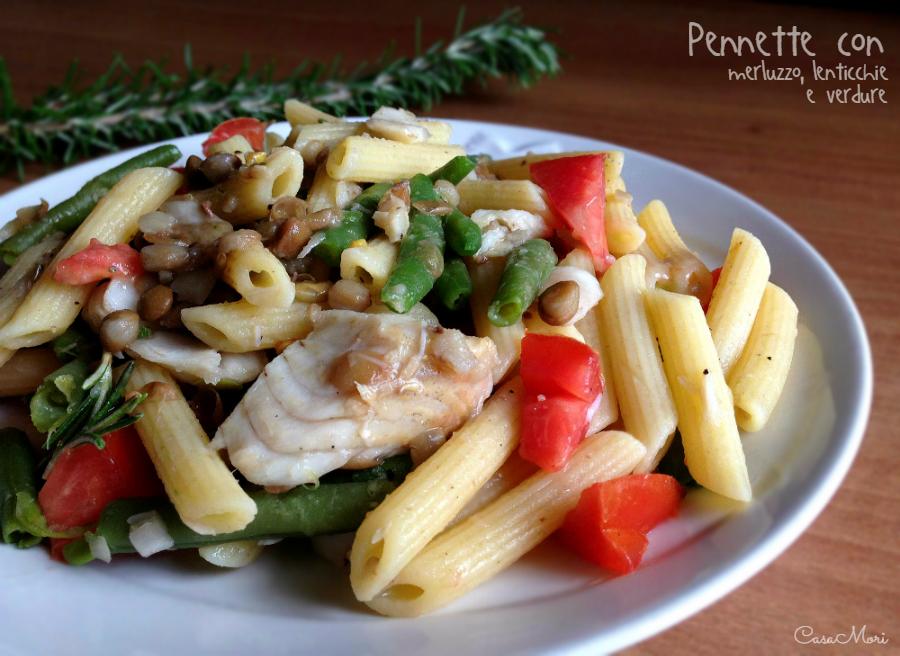 Pennette con merluzzo, lenticchie e verdura